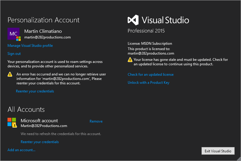 Visual Studio license stale notification splash